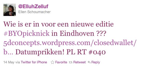 1ste tweet BYOpicknick